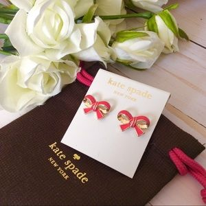 Kate Spade Pink Bow Gold Studs Earrings